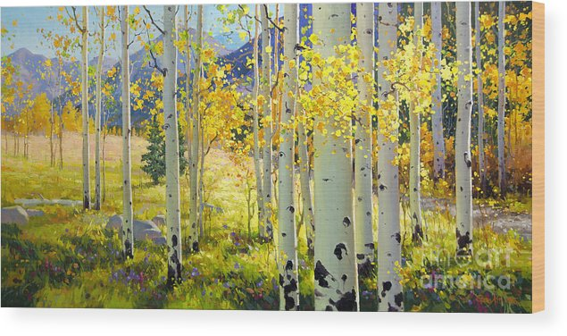 Aspen Oil Painting Birch Trees Gary Kim Oil Print Art Woods Fall Autumn Tree Panorama Sunset Beautiful Beauty Yellow Red Orange Fall Leaves Foliage Autumn Leaf Color Mountain Oil Painting Original Art Horizontal Landscape National Park America Morning Nature Wallpaper Outdoor Panoramic Peaceful Scenic Sky Sun Time Travel Vacation View Season Bright Autumn National Park Southwest Mountain Clouds Cloudy Landscape Afternoon Aspen Grove Natural Peak Painting Oil Original Vibrant Texture Reflections Wood Print featuring the painting Afternoon Aspen Grove by Gary Kim