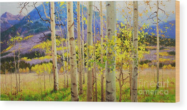 Aspen Forest Tree Wood Print featuring the painting Beauty of Aspen Colorado by Gary Kim