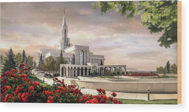 Bountiful Wood Print featuring the painting Bountiful Temple by Brent Borup
