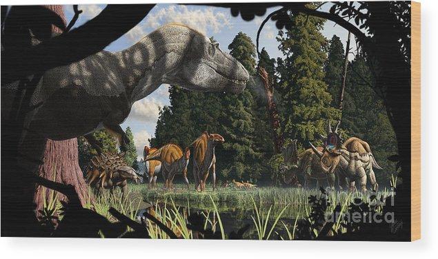 Paleoart Wood Print featuring the digital art Campanian Montana landscape by Julius Csotonyi