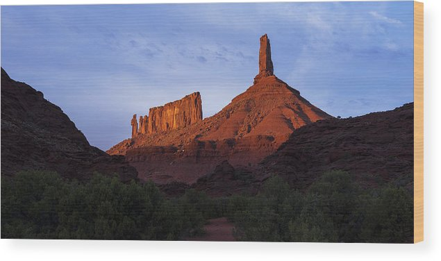 Castle Valley Wood Print featuring the photograph Castle Towers by Chad Dutson