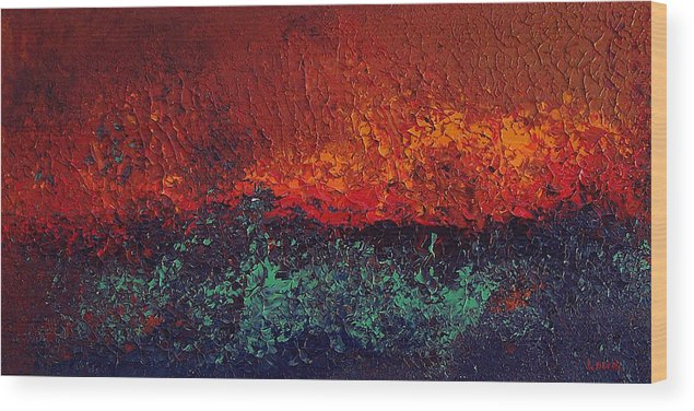 Abstract Wood Print featuring the painting Firestorm by Michael Lewis