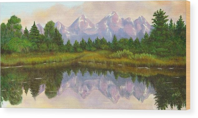 Landscape Wood Print featuring the painting Grand Tetons by Merle Blair
