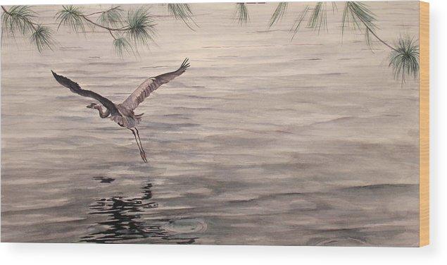 Heron Wood Print featuring the painting Heron in Flight by Debbie Homewood