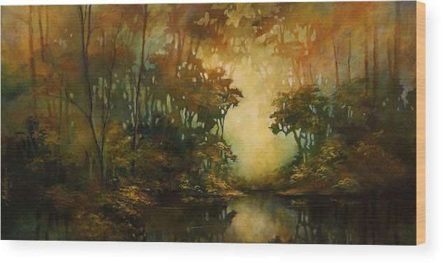 Abstract Art Wood Print featuring the painting Landscape 3 by Michael Lang