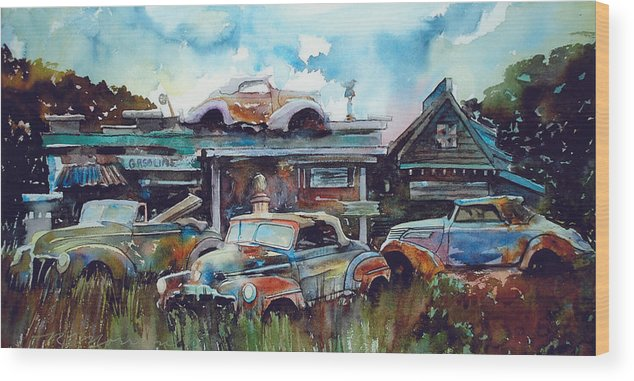 Fords Wood Print featuring the painting Lytton Station by Ron Morrison