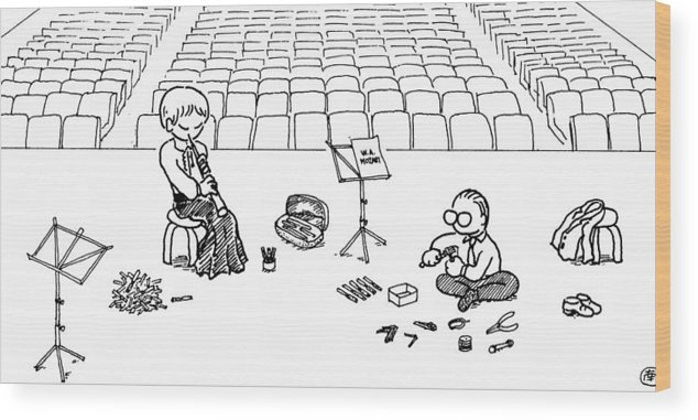Oboe Wood Print featuring the drawing Making Oboe Reeds On The Stage by Minami Daminami