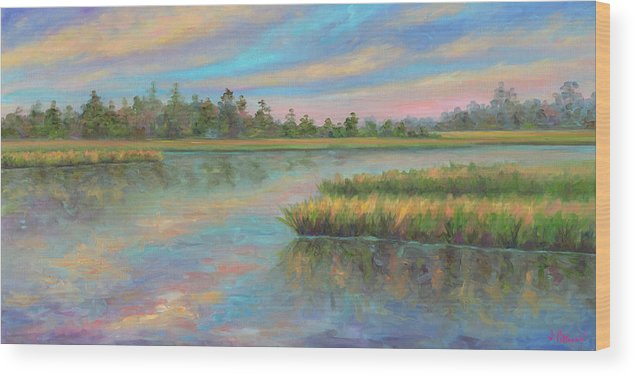 Marsh Wood Print featuring the painting Marsh Glow in the Low Country by Jeff Pittman