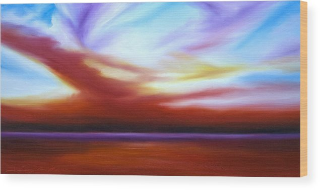 Skyscape Wood Print featuring the painting October Sky III by James Christopher Hill