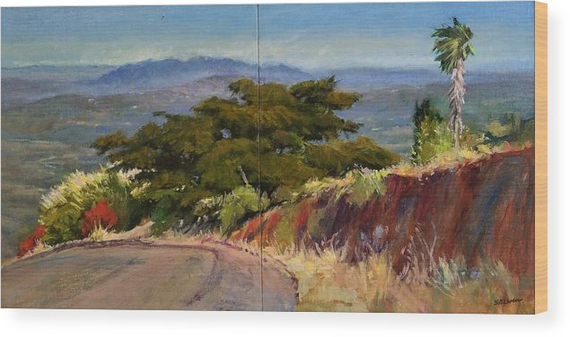 Landscape Painting Wood Print featuring the painting Old Cypress Near Temecula by Peter Salwen