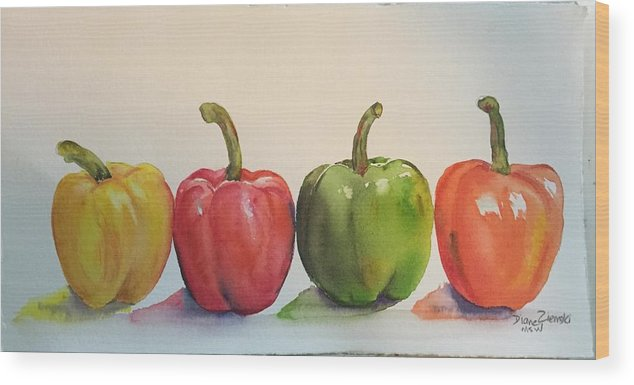 Watercolor Wood Print featuring the painting Peppers four by Diane Ziemski