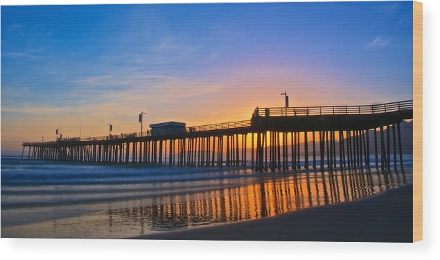 Nature Wood Print featuring the photograph Pismo Beach and Pier Sunset by Zayne Diamond Photographic
