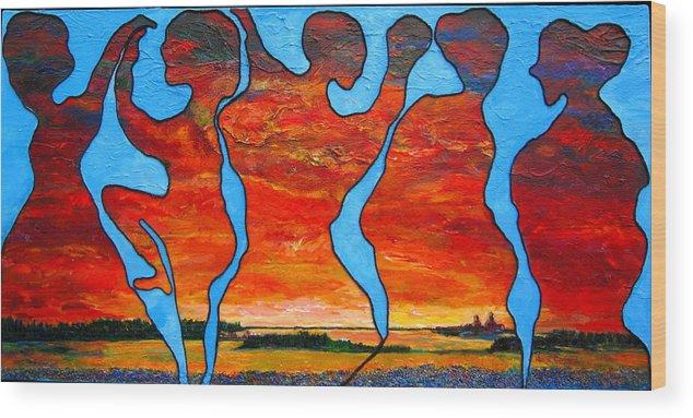 Prairie Scene Wood Print featuring the painting Prairie Energy by Naomi Gerrard