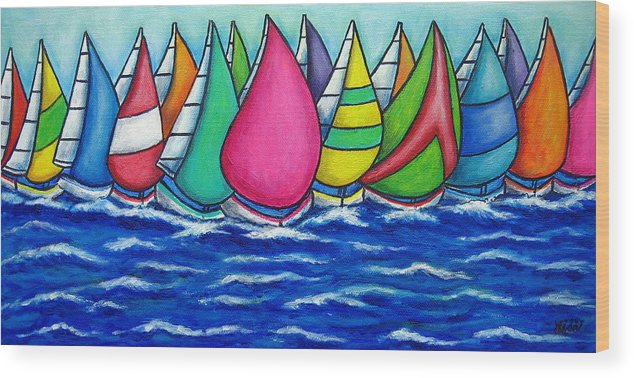 Boats Wood Print featuring the painting Rainbow Regatta by Lisa Lorenz