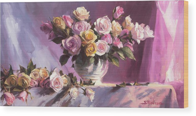 Flower Wood Print featuring the painting Rhapsody Of Roses by Steve Henderson