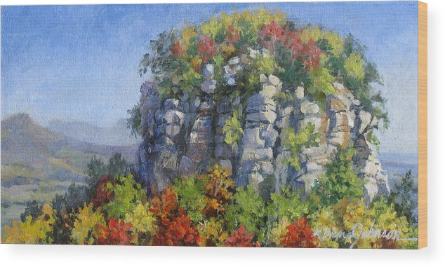 Mountains Wood Print featuring the painting The Pilot - Pilot Mountain by L Diane Johnson