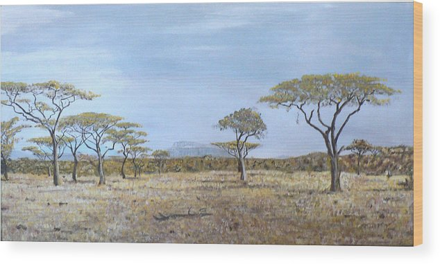 African Veldt Wood Print featuring the painting Veldt by Dan Bozich