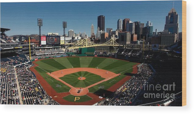 Panoramic Wood Print featuring the photograph Houston Astros V Pittsburgh Pirates by Joe Robbins