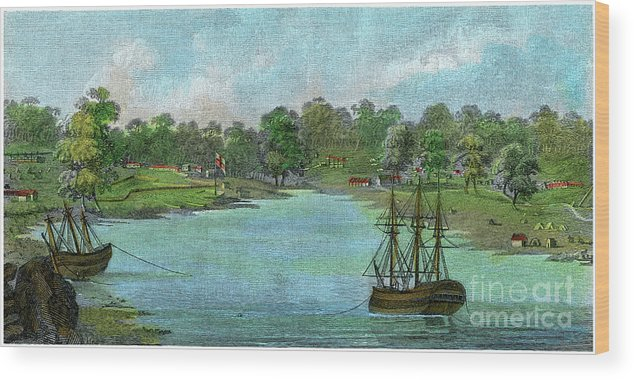 Engraving Wood Print featuring the drawing Sydney Cove, New South Wales by Print Collector