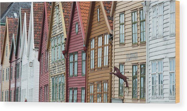 Panoramic Wood Print featuring the photograph Colourful Houses In A Row by Keith Levit / Design Pics