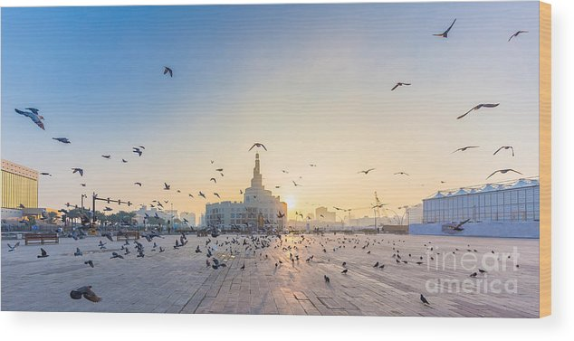 Capital Wood Print featuring the photograph Flying Doves Over Fanar, Qatar Islamic by Ahmed Adly