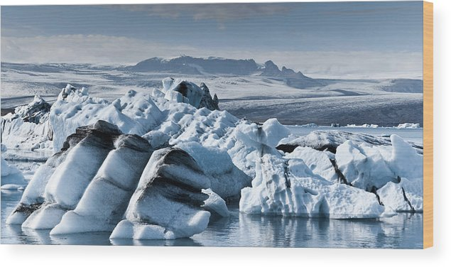 Iceberg Wood Print featuring the photograph Icebergs In Iceland by Icelandic Landscape
