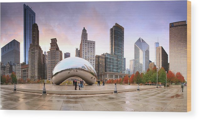 Dawn Wood Print featuring the photograph Millennium Park, Chicago, Illinois,usa by Travelpix Ltd