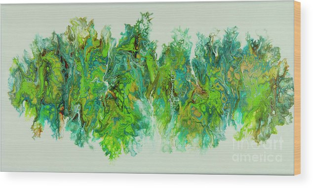 Poured Acrylic Wood Print featuring the painting Sea Lettuce Creature by Lucy Arnold