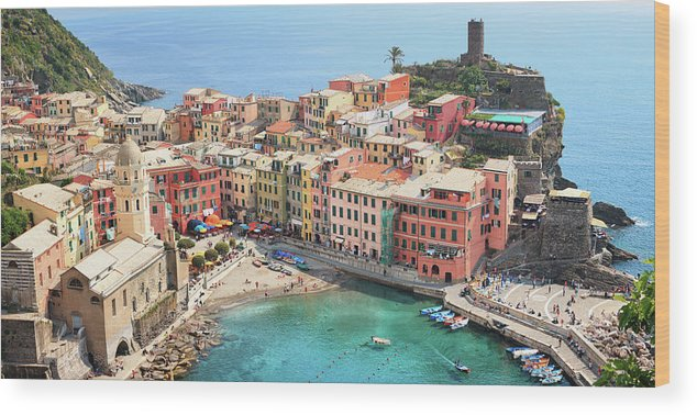 Water's Edge Wood Print featuring the photograph Vernazza by Borchee