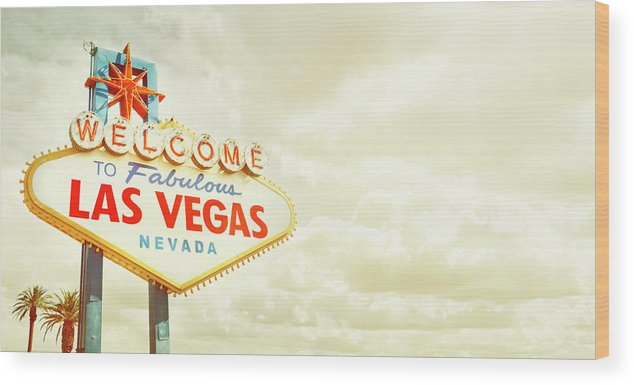 Panoramic Wood Print featuring the photograph Vintage Welcome To Fabulous Las Vegas by Powerofforever