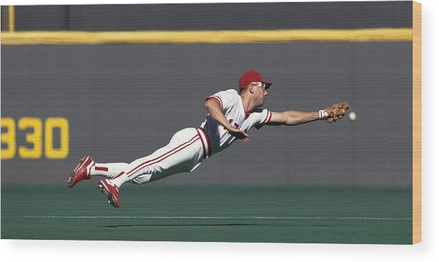 Ball Wood Print featuring the photograph Chris Sabo by Ronald C. Modra/sports Imagery