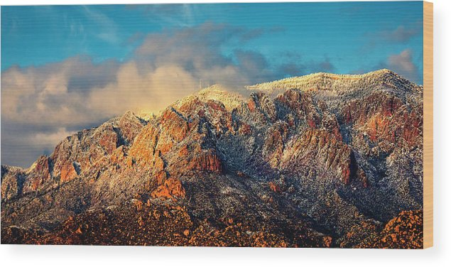 Albuquerque Wood Print featuring the photograph Unveiling Sandia Mountain and Crest by Zayne Diamond Photographic