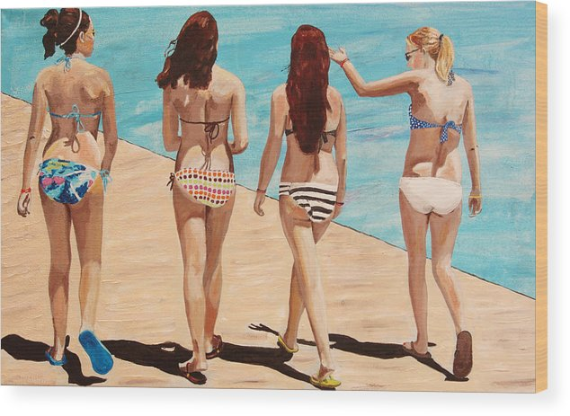 Kevin Callahan Wood Print featuring the painting Jersey Girls Point Pleasant by Kevin Callahan