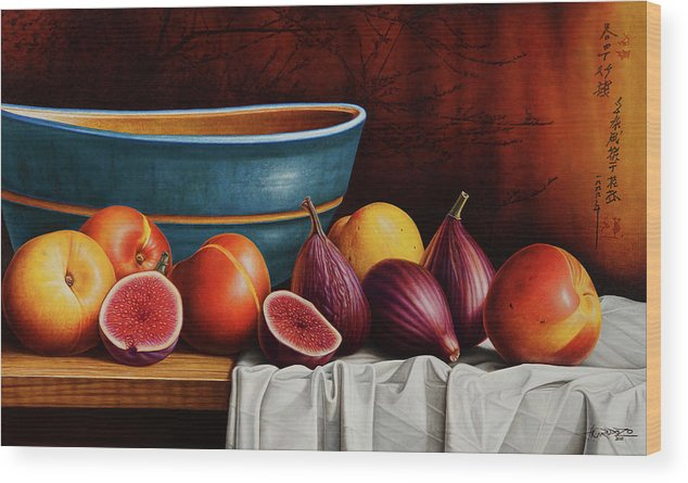 Fruit Wood Print featuring the painting Peaches and Figs by Horacio Cardozo