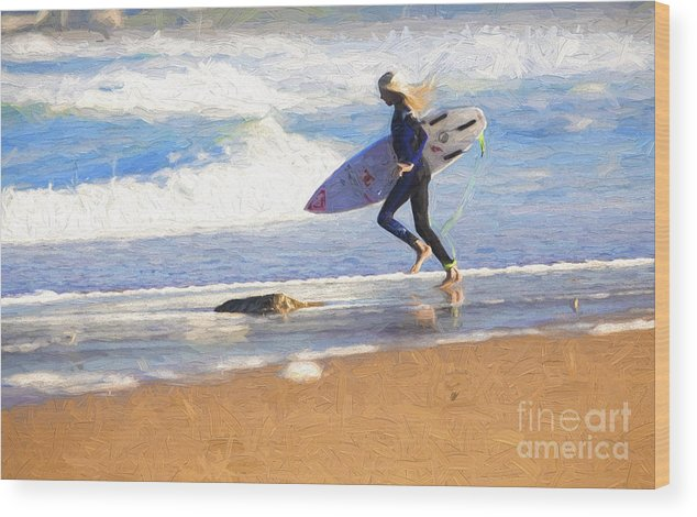 Surfer Wood Print featuring the photograph Surfing girl by Sheila Smart Fine Art Photography