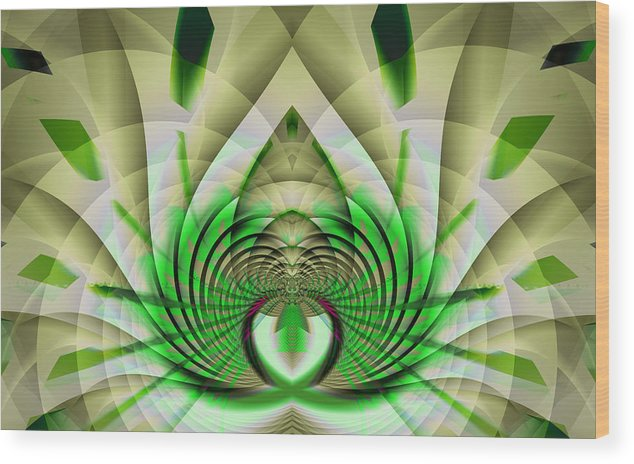 Fractal Wood Print featuring the digital art Fractal Lotus by Frederic Durville