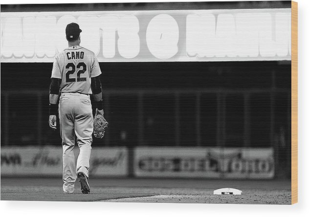 American League Baseball Wood Print featuring the photograph Seattle Mariners V Miami Marlins by Mike Ehrmann