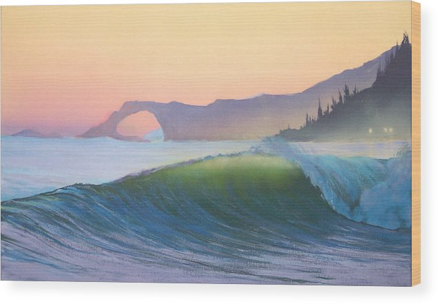 Ocean Wood Print featuring the painting Sunset Sonata by Philip Fleischer