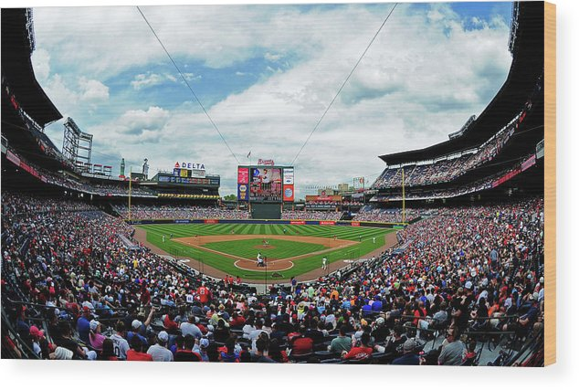 Atlanta Wood Print featuring the photograph Washington Nationals V Atlanta Braves by Scott Cunningham