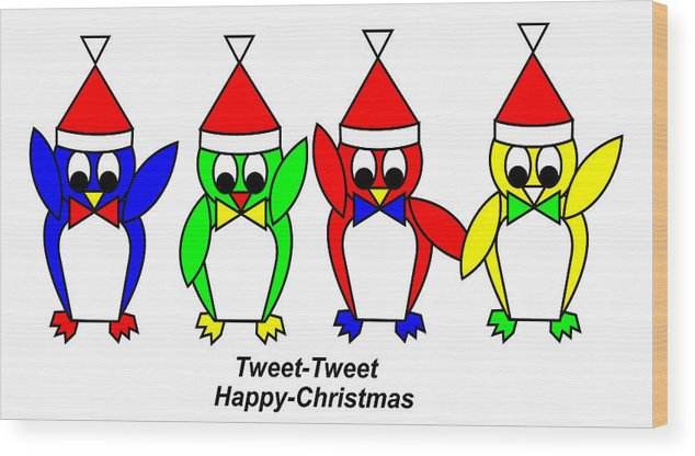 4 Penguin Sons Of Santa Wish You A Merry Christmas Wood Print featuring the digital art 4 Penguin sons of Santa wish you a Merry Christmas by Asbjorn Lonvig