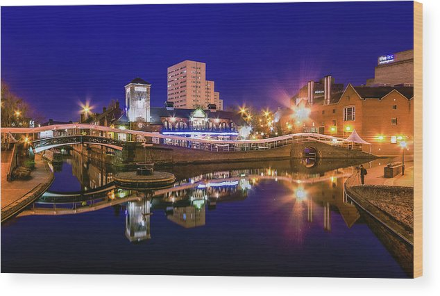 Birmingham Wood Print featuring the photograph Blue Hour In Birmingham by Fiona Mcallister Photography