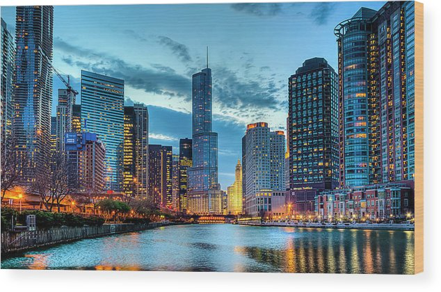 Tranquility Wood Print featuring the photograph Chicago River by Carl Larson Photography