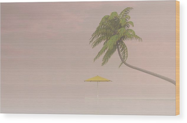 Tranquility Wood Print featuring the digital art Coconut Palm And Sunshade In Haze, 3d by Westend61