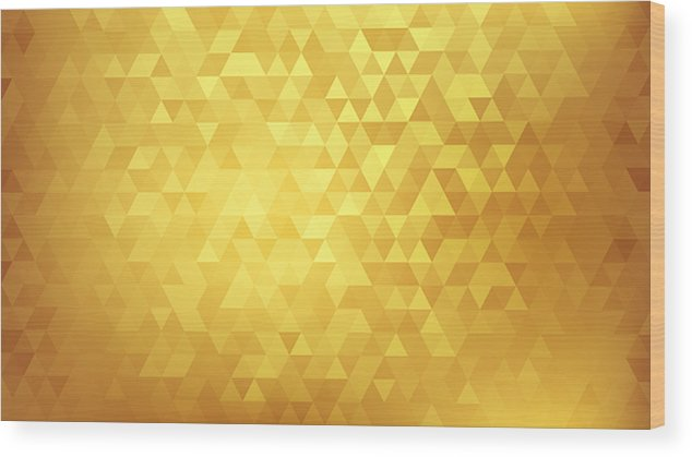 Triangle Shape Wood Print featuring the drawing Golden abstract background by Mfto