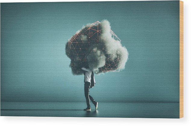 Internet Wood Print featuring the photograph Humorous mobile cloud computing conceptual image by Gremlin