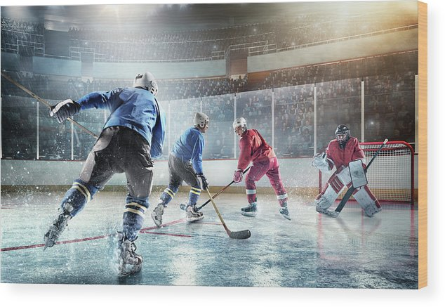 Sports Helmet Wood Print featuring the photograph Ice Hockey Players In Action by Dmytro Aksonov