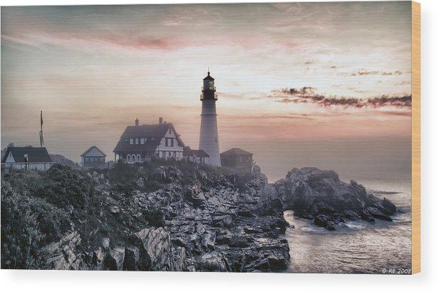 Architecture Wood Print featuring the photograph Portland Head Light Summer Sunrise by Richard Bean