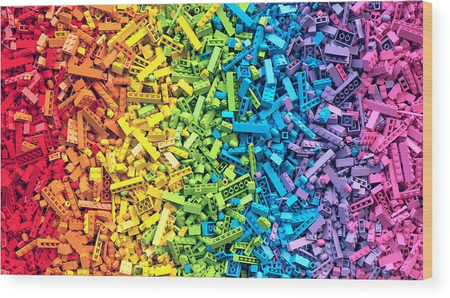 Education Wood Print featuring the photograph Rainbow Toy Blocks Background. 3d by 3d Kot