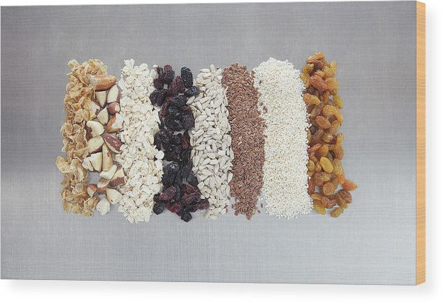Nut Wood Print featuring the photograph Raw Nuts, Dried Fruit And Grains by Laurie Castelli