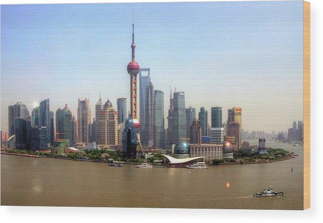 Outdoors Wood Print featuring the photograph Shanghai Skyline by Mariusz Kluzniak